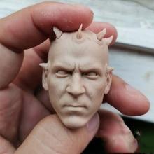 цена на 1/6 Scale Unpainted Male Doll Head Sculpt Star Wars Solider Darth Maul White Mold Fit 12