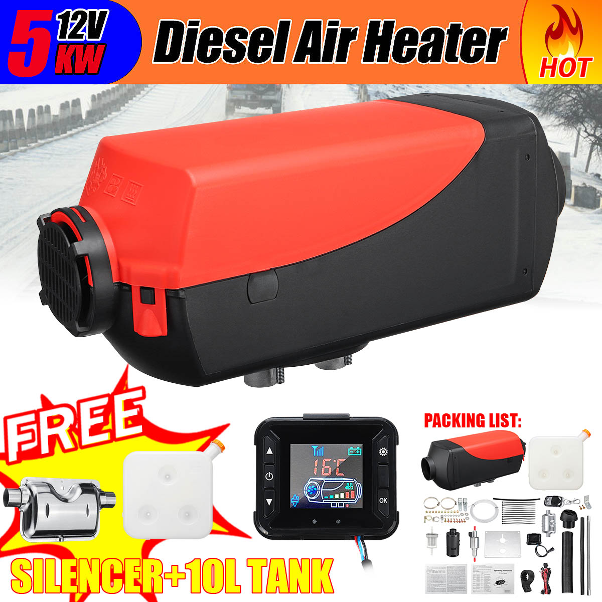 12V 2KW-5KW Diesel Air Heater Tank Vent  Thermostat for Car Caravan Lorrys Boats