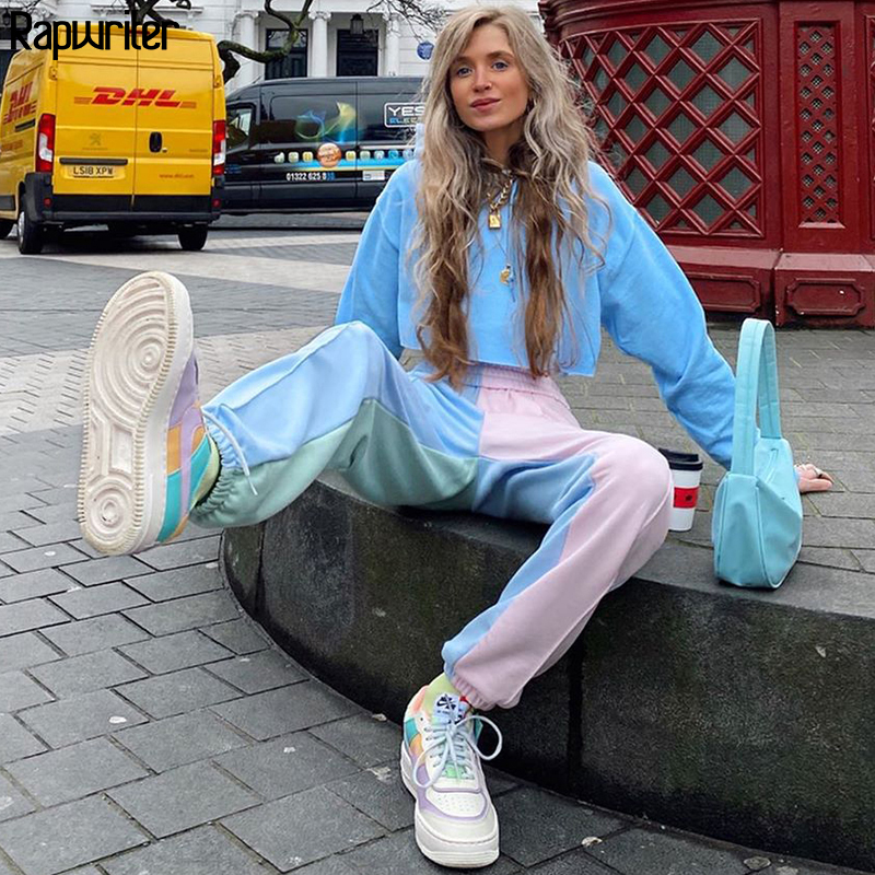 Rapwriter Fashion Panelled Patchwork Sweatpants Women 2020 Harajuku Stretch High Waist Pants Streetwear Loose  Jogger Trousers