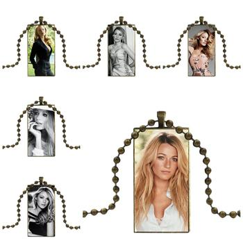 Gossip Girl Blake Lively Glass Pendant Necklace Handmade Half Pendant Rectangle Necklace For Women High Quality Girls image