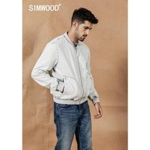 Bomber-Jacket Clothing Baseball Coats Vintage Men Fashion SIMWOOD Cotton Indigo Washed