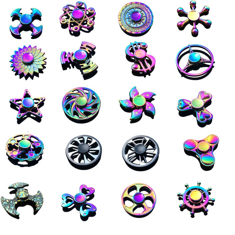 Hot Milti-color Rainbow Finger Gyro Metal Hand Spinner For Autism Rotation Anti Stress Toys For Children Adult