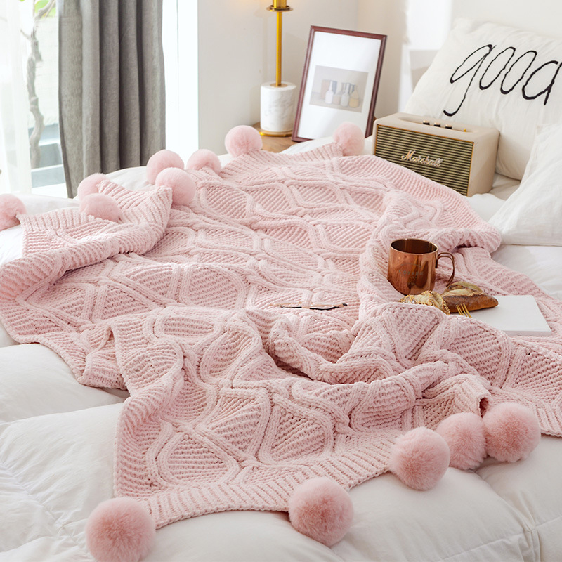130x160CM Sofa Chenille Blanket Shawl Decorative Blanket Winter Warm Blanket Pure Color Thick Simple Knitted Cover Blanket