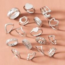 17 pz/set bohemien Vintage foglie geometriche anello Set donne fascino comune anello gioielli moda regalo