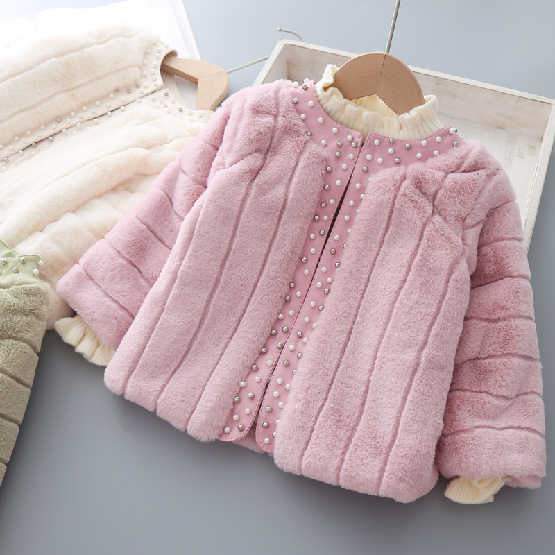 Kids Coat Faux Fur For Girl Spring Autumn New Fashion Baby Girls Cardigan Girls Overcoat Princess Wool Thick Warm Jacket 3 Years