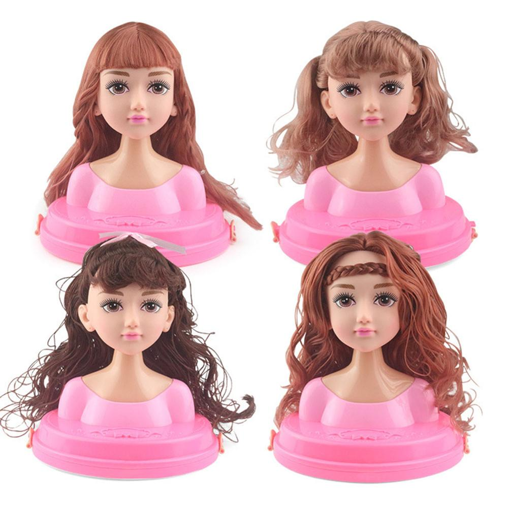 Girls Hairdressing Doll Makeup Brush Comb Hairband Set Half Body Makeup Hairstyle Doll Mannequin Head Pretend Play Toys