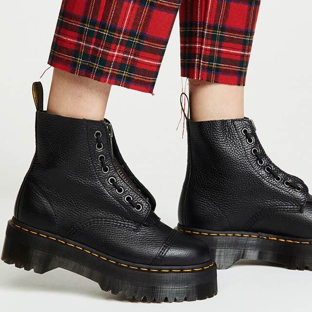 Botas Martin de plataforma negra para mujer con cremallera frontal de encaje gruesas botas de moto Otoño de costura de punta redonda botas de Mujer