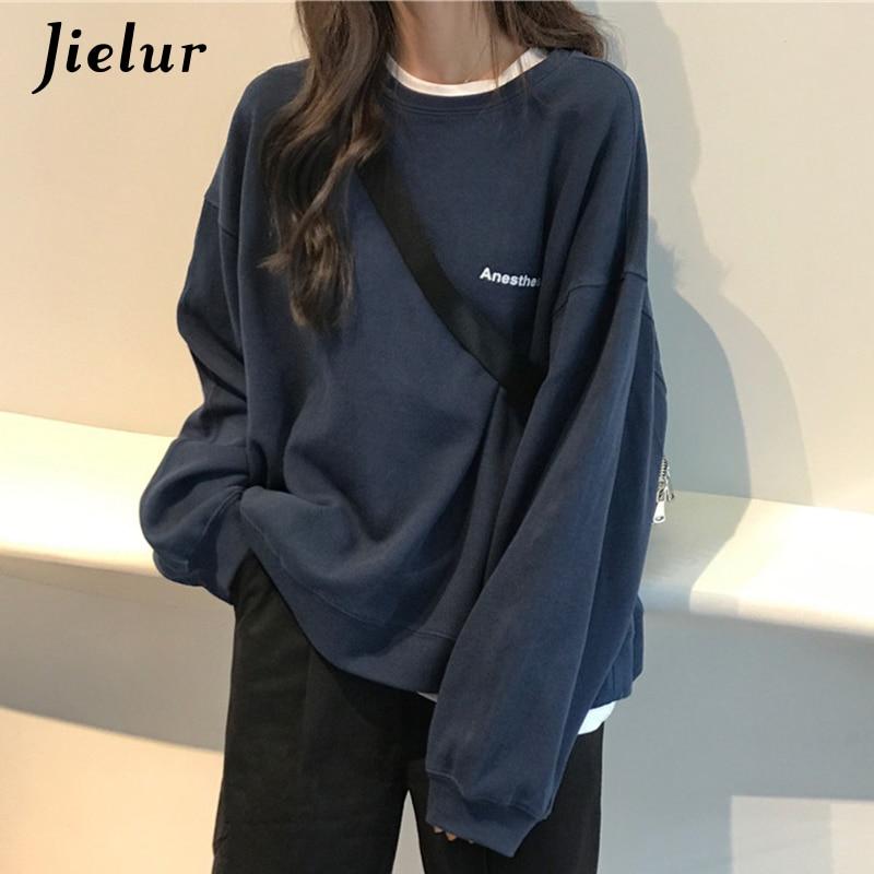 Jielur 2021 New Kpop Letter Hoody Fashion Korean Thin Chic Women's Sweatshirts Cool Navy Blue Gray Hoodies for Women M-XXL 1