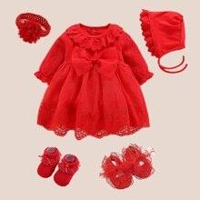 Baby Taufe Kleid 2019 Bogen Neugeborenen Baby Mädchen Rote Kleider & Kleidung Schnee Weiß Ropa Bebe Baby Mädchen Kleider 3 6 9 monate