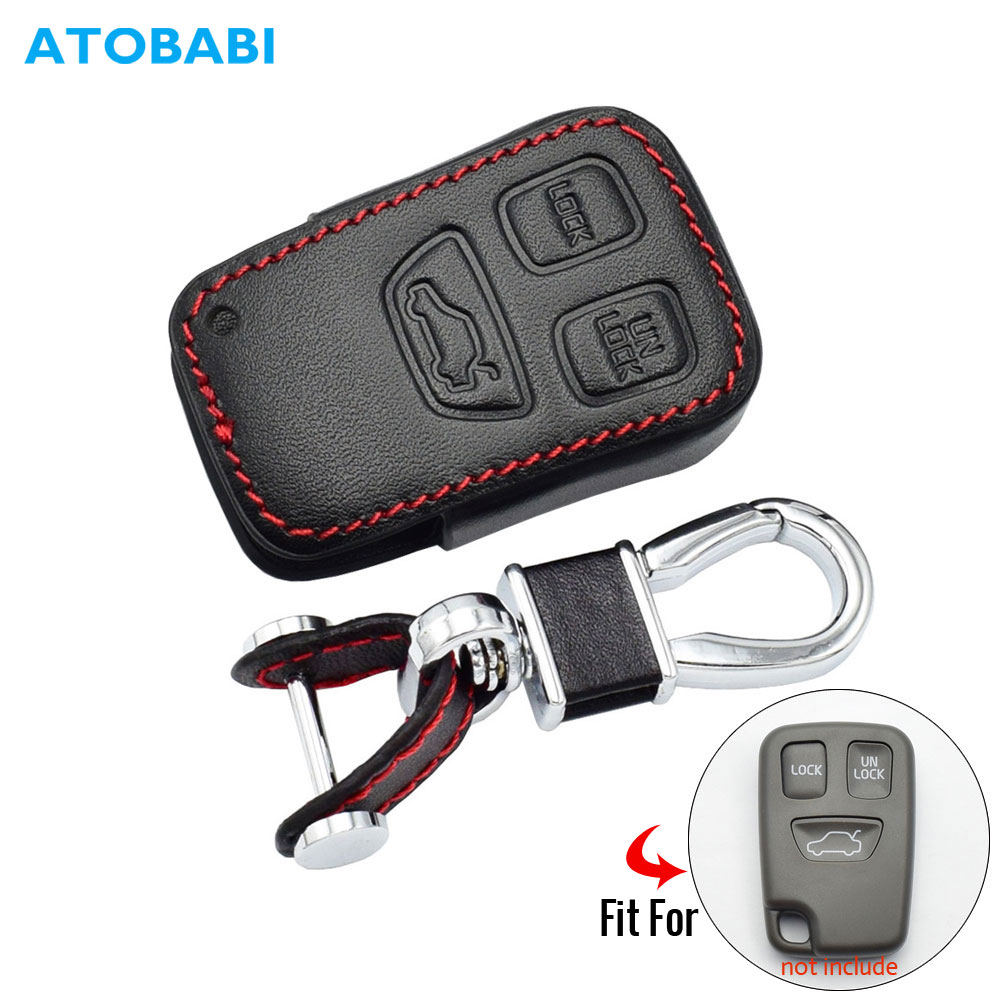 3 Buttons Leather Car Key Case For Volvo S40 S70 S90 V40 V90 C70 Smart Remote Fob Cover Keychain Protector Bag Auto Accessories