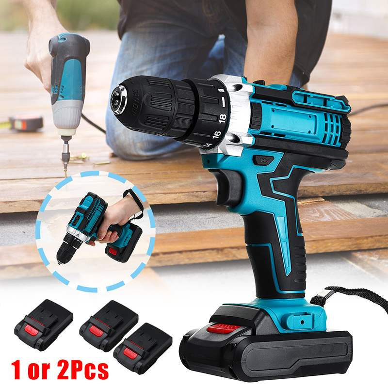 Effcient 48V 2-Speed Cordless Electric Screwdriver <font><b>Drill</b></font> 18+2 Torque Mini Wireless Power <font><b>Driver</b></font> With 2 DC Lithium-Ion <font><b>Battery</b></font> image