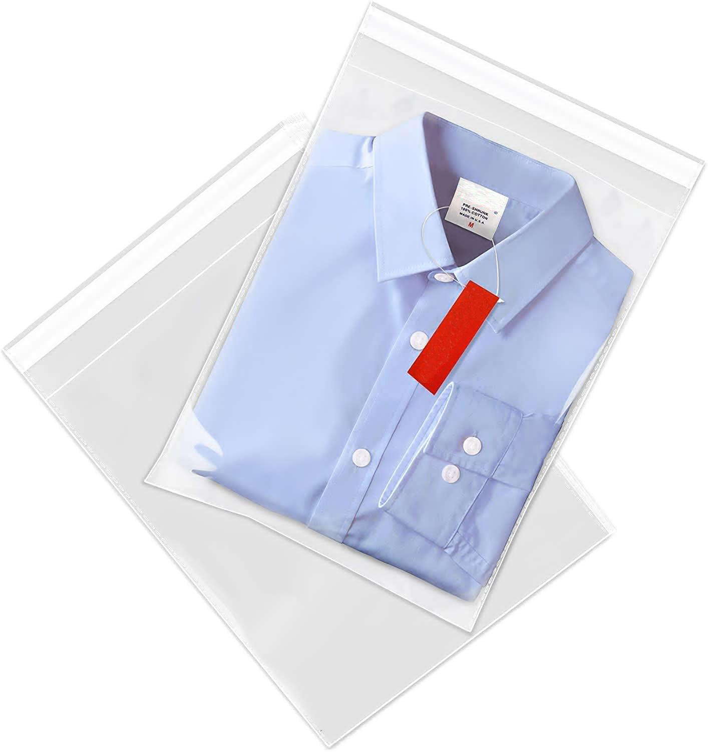 100 Pack Poly Transparent Pouch Opp Self Adhesive Clear Plastic Bag for T Shirt, Clothes Storage Bag(China)