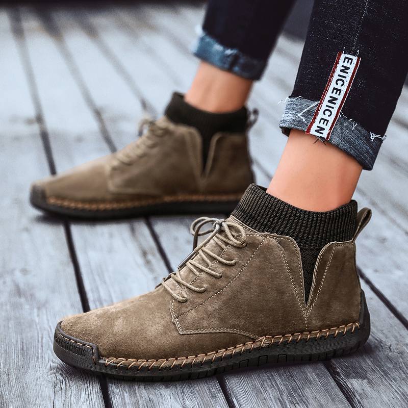 Winter Warm Men Snow Boots High Quality Work Shoes Male Lace-Up Waterproof Male Ankle Boots Suede Leather Fur Plush Men Shoes