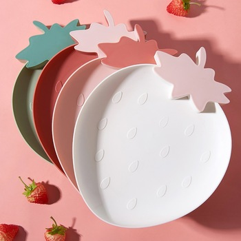 Lazy Snack Tray Strawberry Shape Fruit Food Tray Candy Cute Plate Snack Dish Fruit Food Plate Household Plastic Plate for Home