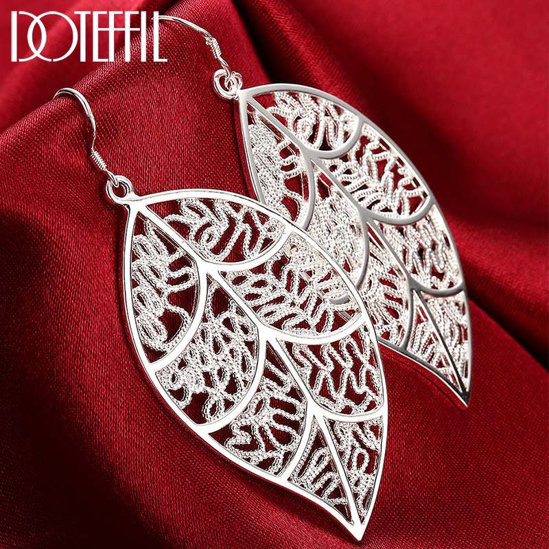 DOTEFFIL New Arrival 925 Sterling Silver Fashion Leaf Earrings For Women Wedding Engagement Jewelry Best Gift Christmas Gift