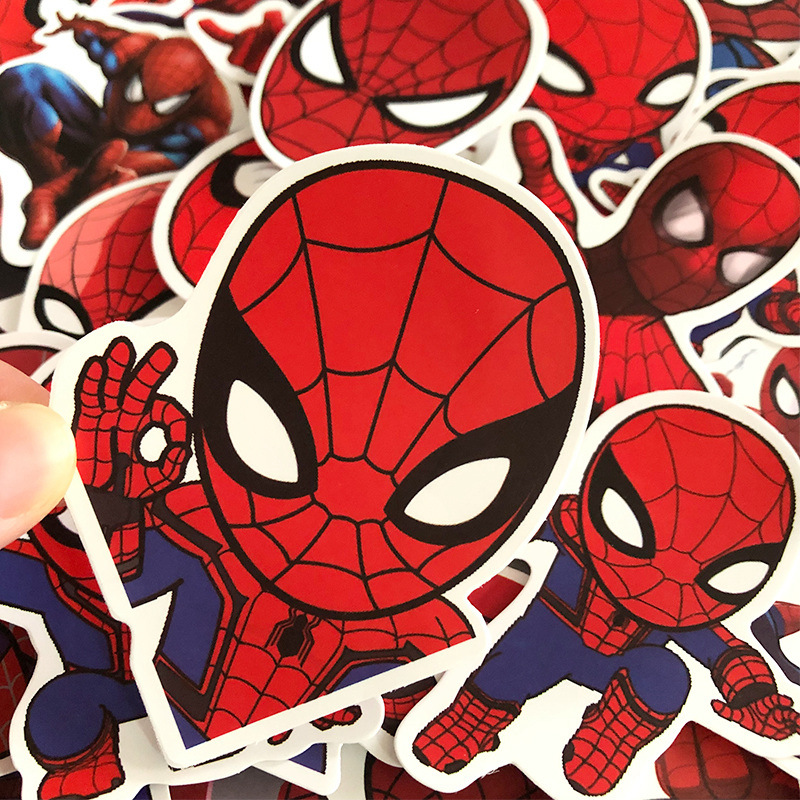 35 PCS Marvel Spiderman DIY Stickers Car Motorcycle Travel Luggage Phone Guitar Skateboard Waterproof Classic Toy Decal Stickers