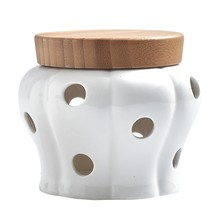 Creative Ceramic Storage Cans Garlic Ginger Storage Tank Jar Bamboo Cover Kitchen Organizer Tools Home Decoration Accessories(China)