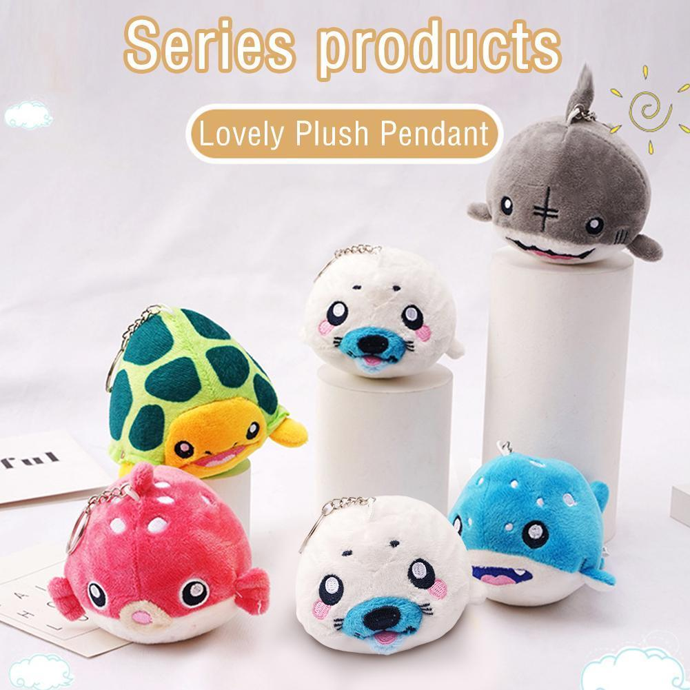 Ocean Animal Plush Toy Shark Dolphin Cute Stuffed Dolls Keychain Decoration Bag Pendant Gift For Children