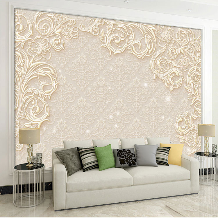 Marbling Relief Fan-shaped Painting Of Profound Luckiness Chinese Style 3D Background Of Television In The Drawing Room Wallpape
