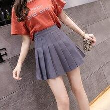 Puimentiua Sexy Women Pleated Skirt Summer High Waist Chic A Line Ladies Mini Skirt Korean Zipper Preppy Style Girls Dance Skirt