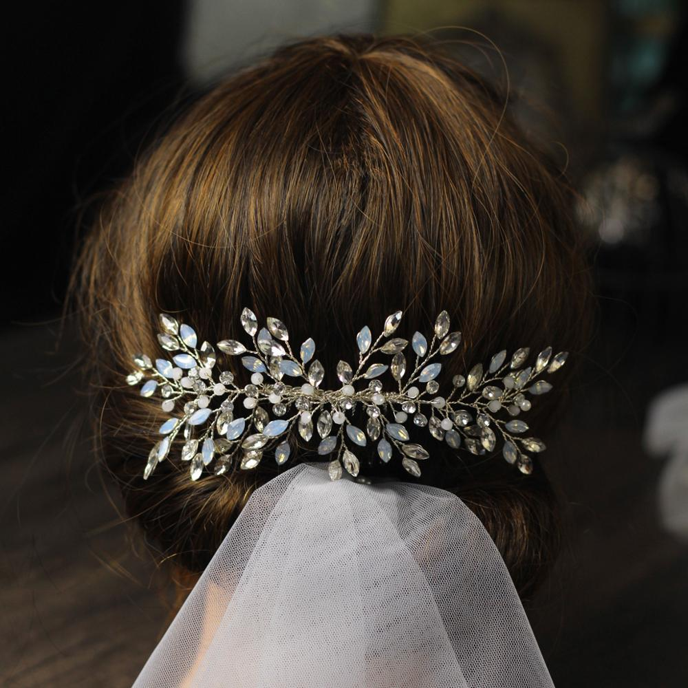 Vintage Ornaments Silver Rhinestones Crystal elegant Banquet party Wedding Hair comb Bridal Hair Jewelry for women