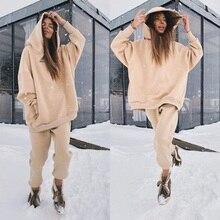 Осень-зима уличная женская обувь для бега, комплект из 2 предметов, толстовка с капюшоном и штаны, комплект из двух предметов спортивный кост...