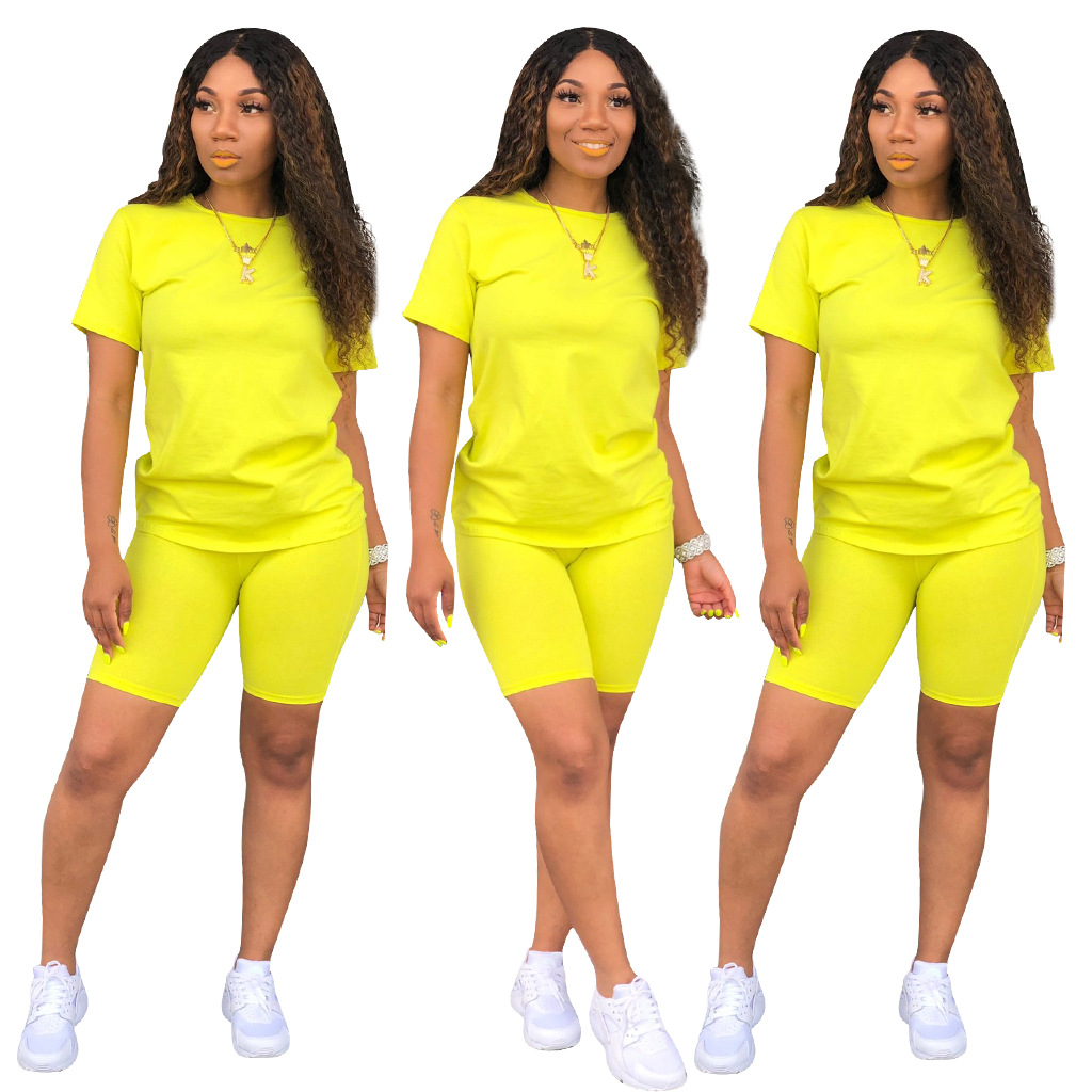 Image 5 - HAOYUAN 2 Piece Set Women Tracksuit Festival Clothing Neon Crop Top and Biker Shorts Sexy Club Outfits Two Piece Matching Sets-in Women's Sets from Women's Clothing