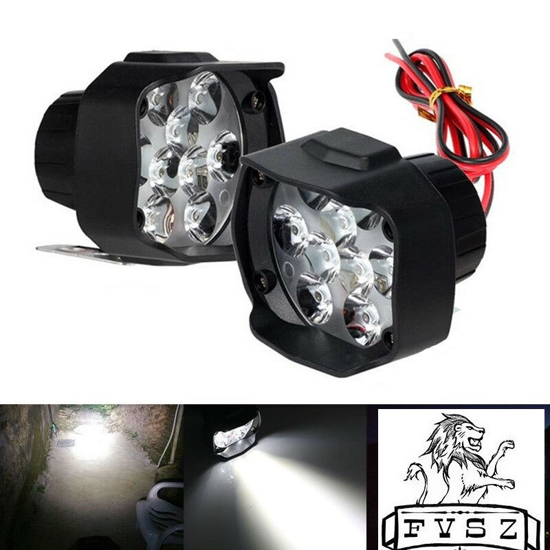 2Pcs Motorcycle 9 LED Headlight Super Bright White Motorbike Fog Lamp 6500K Working Spot bulbs1800LM led Scooters Spotlight