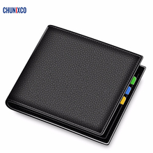 2020 New Men wallets Genuine Leather Wallet Quality Short male Solid Coin pocket Credit Card holder Purse Cartera