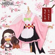 Аниме Косплей демона убийца: Kimetsu no Yaiba Kamado Nezuko женский костюм для косплея наряд горничной наборы платье кимоно