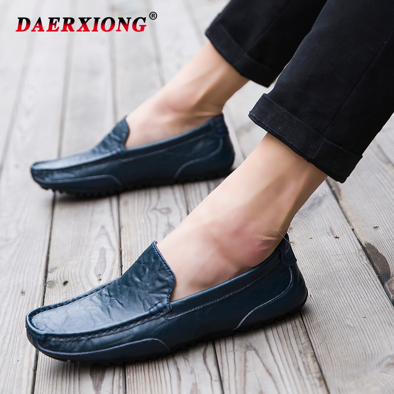 New Men Casual Loafers 2019 Summer Breathable Lightweight Slip on Driving Boat Leather Men Shoes Mocassin Homme Zapatos Hombre in Men 39 s Casual Shoes from Shoes
