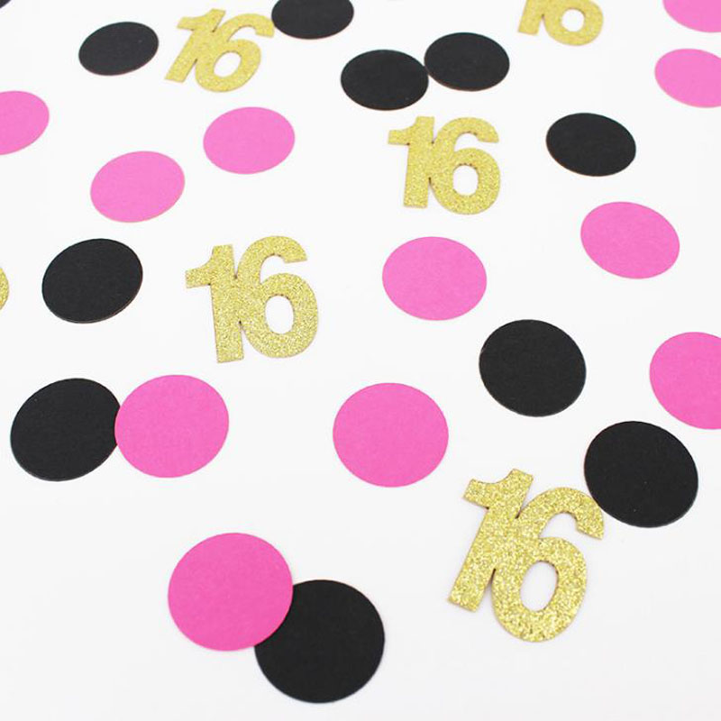 100 Pcs/pack Sweet 16 21 <font><b>30</b></font> 40 50 60 Years Old Dot Number <font><b>Confettis</b></font> Girls Wedding Engagement Happy Birthday Party Decorations image