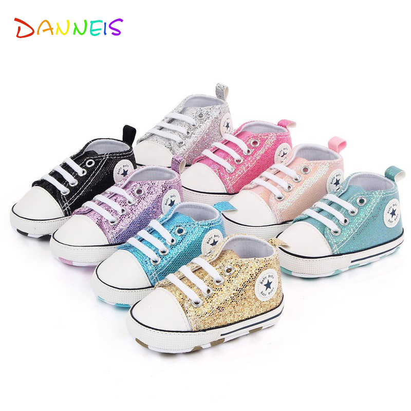 Shiny Upper Baby Shoes Moccasins Soft Sole Infant Girls Boys Sports Shoes Toddlers First Walkers 2020 Newborn Baby Prewalkers 6