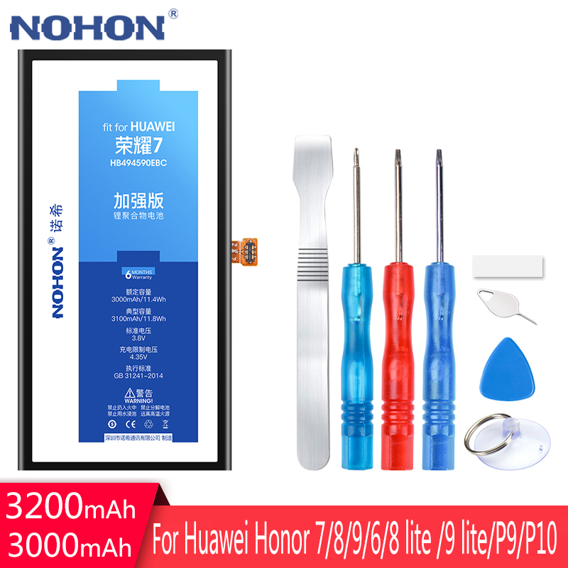 NOHON Battery For <font><b>Huawei</b></font> Honor 7 8 Lite 9 Lite 6 HB494590EBC HB366481ECW HB386280ECW P9 <font><b>P10</b></font> 4X 7i Replacement <font><b>Bateria</b></font> Free Tools image