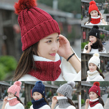 Hot Women Winter Scarf And Hat Set Knitted Warm Beanie Skullcap Knit Neck Warmer Fashion Casual Elastic Soft Lady Scarf Cap Suit