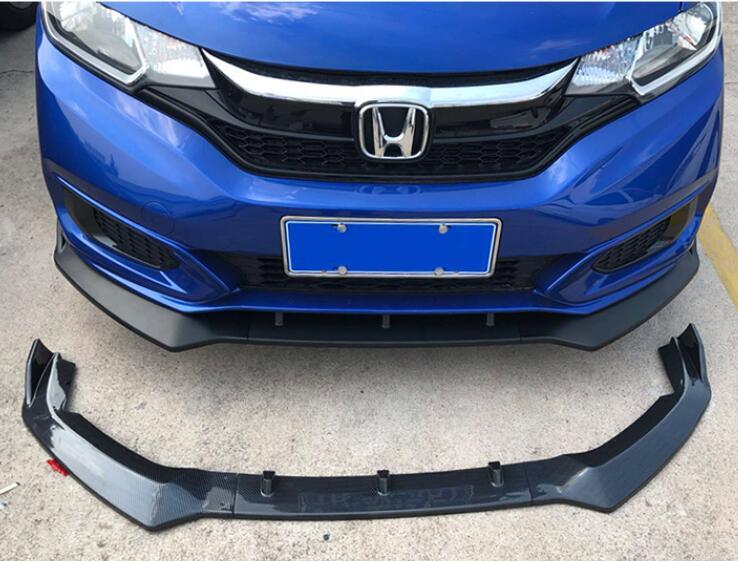 For 2015-2017 Honda Fit JAZZ 3Pcs Gloss Black Front Bumper Lip Spoiler Covers