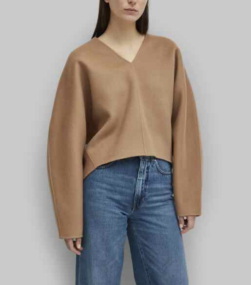 Woman Fashioon Rennes sweater camel 2019 Fall Winter Woman V-neck Wool Blend Cropped tOP Long Wide Sleeves