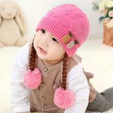 Girl Hat New Winter Caps  Baby Hats Knitted Wool Kids Cute Floral s Cap for Newborn Children Wear