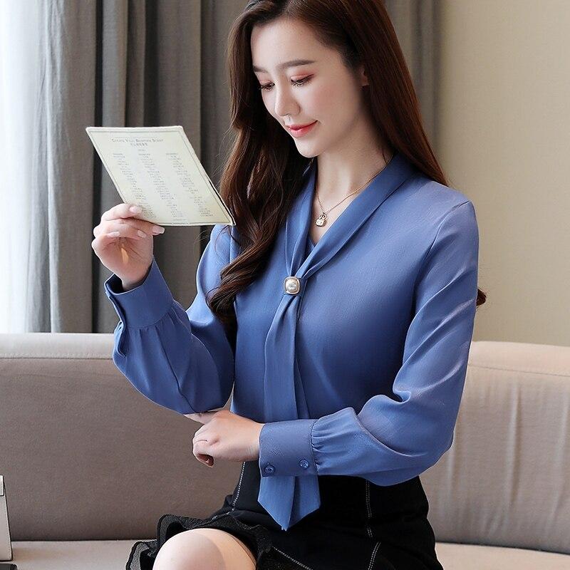 Korean Fashion Womens Tops And Blouses Spring Chiffon Women Shirts Office Lady Ladies Tops Plus Size Blusas Femininas Elegante
