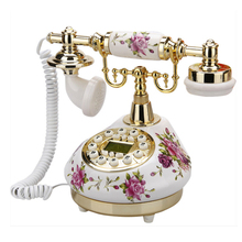 Teléfono blanco antiguo con cable fijo teléfonos caseros Vintage clásico cerámica hogar teléfono antiguo hogar Oficina arte tiendas regalo