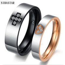 2016 New Fashion Love Heart and Cross Couple Rings Hot Ring for Women Men Wedding Engagement CZ Ring Unique Fine jewelry(China)