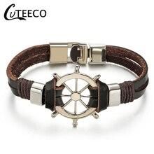 CUTEECO Hot Sale High Quailty hope Anchor Bracelet Bangle Genuine Leather Hand Chain Buckle friendship men women bracelet