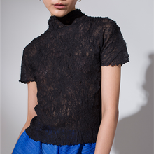 Short sleeved T-shirt 2019 Summer Issey style New pattern Half collar black Lace fold