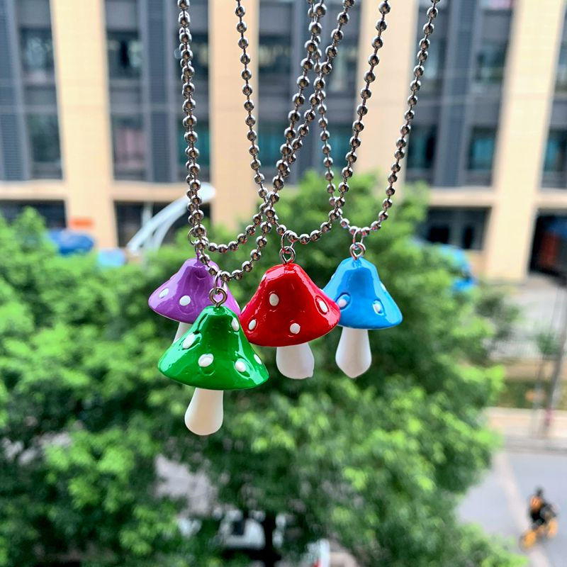 Fashion Cartoon Color Mushroom Pearl Bunny Necklace Personality Cute Resin Pendant Girl Daily Charm Jewelry Gift