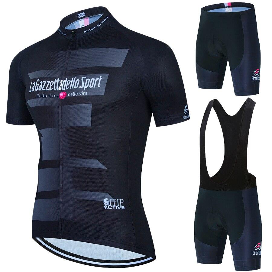 2021 la gazzetta dello esporte conjunto camisa de ciclismo verão da equipe da bicicleta dos homens manga curta conjunto respirável mtb pro males