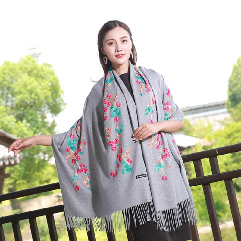 Oversize Floral Embroidery Pretty pattern scarves Autumn Warm scarf Elegant Wedding Evening Party pañuelos de seda