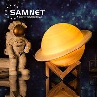2021 Dropship 3D Print Saturn Lamp Night Licht Als Maan Lamp Met 2 Kleuren 16 Kleuren Usb Opladen Als Kerst geschenken Decoratie