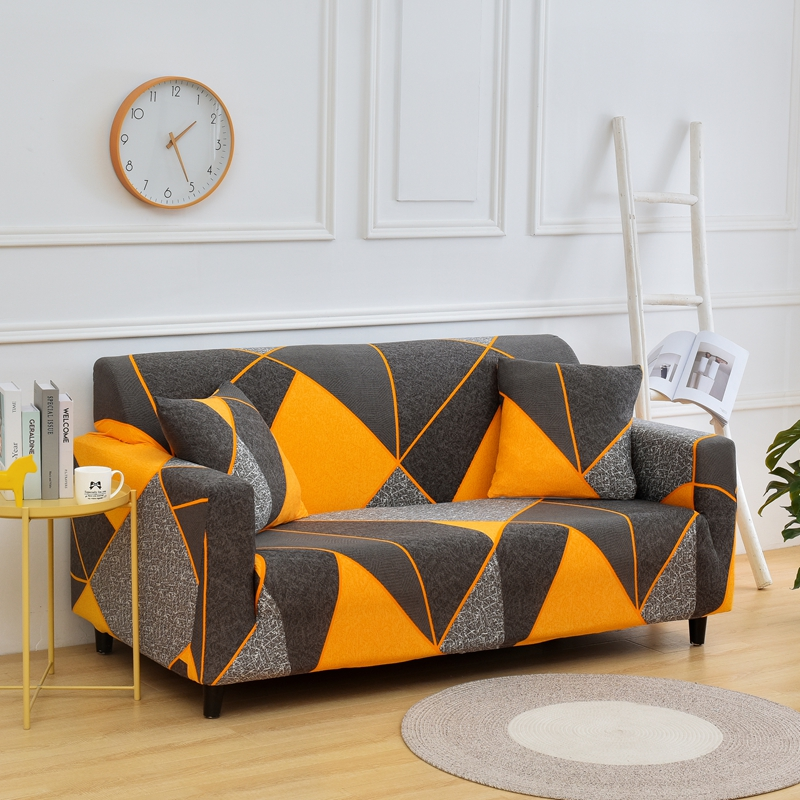 Printed and All Wrapped Sofa Covers with Elastic and Straps for Corner and Sectional Sofa in Home and Office 4