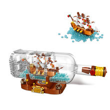 960pcs Ship in a Bottle Building Blocks Brick DIY Toys 21313 Collectible Display Set Model Ship Toys Gift for Kids