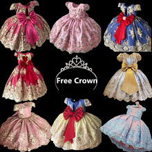 Summer Girl Dress Children's Dresses for Girls Communion Gown Kids Elegant Princess Lace Wedding Ceremony Dresses 4 8 10 Years(China)